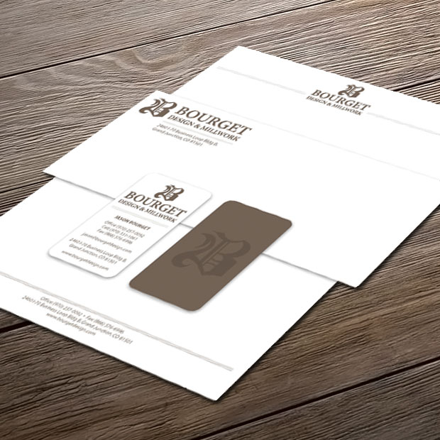 Letterhead, business card and envelope design