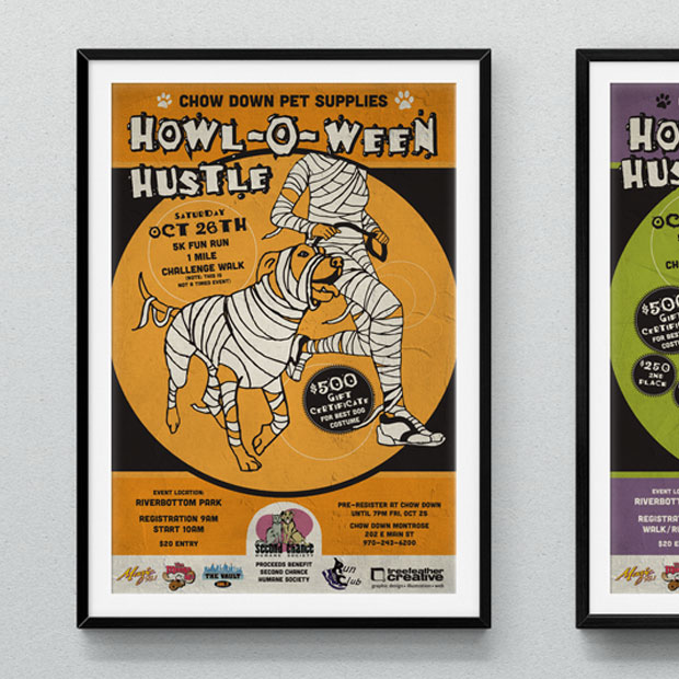 chow-down-howl-o-ween-hustle-poster-designs