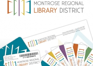 Montrose Regional Library District Logo design, business card design, letterhead design, library card design