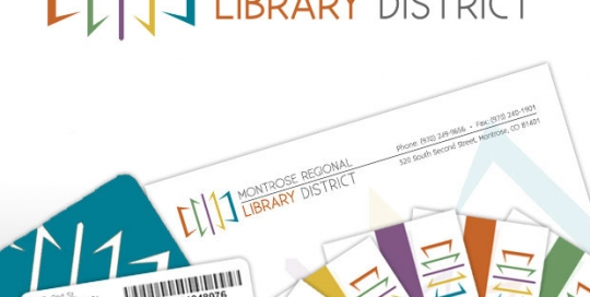 Montrose Regional Library District Logo design, business card design, letterhead design, library card design