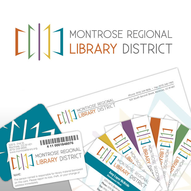 Business cards treefeather creative montrose regional library district logo design business card design letterhead design library card colourmoves