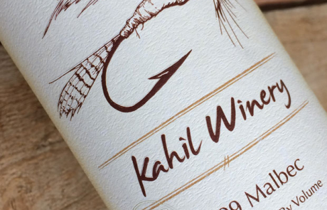 Kahil Winery 2009 Malbec bottle label design by Treefeather Creative